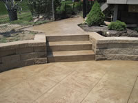 Retaining Wall, Steps, Stamped Concrete Pool Deck