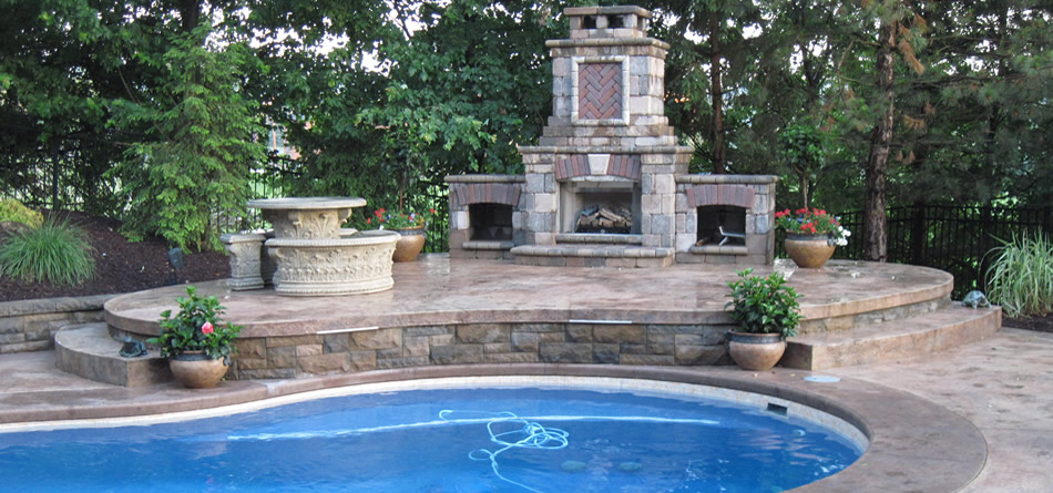 Tiered Pool Deck, Retaining Walls, Fireplace, Stamped Concrete